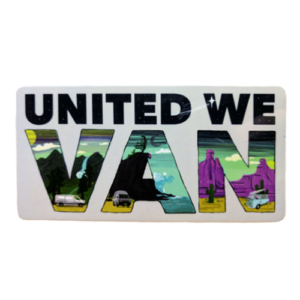 "Image of sticker with the words ""United We Van"" filled with drawings of vans and beautiful scenery"