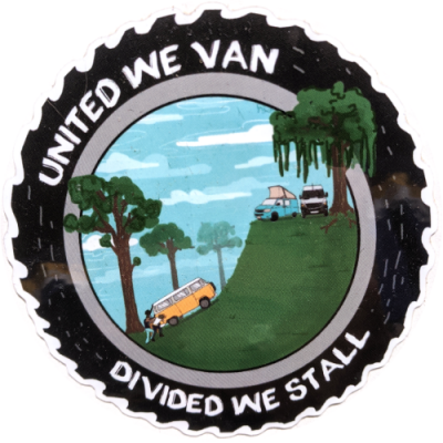 "Image of a sticker featuring a group of people pushing a van up a hill with the words ""United We Van, Divided We Stall"""